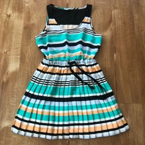 Bcbg Generation Stripe Pleat Dress Medium